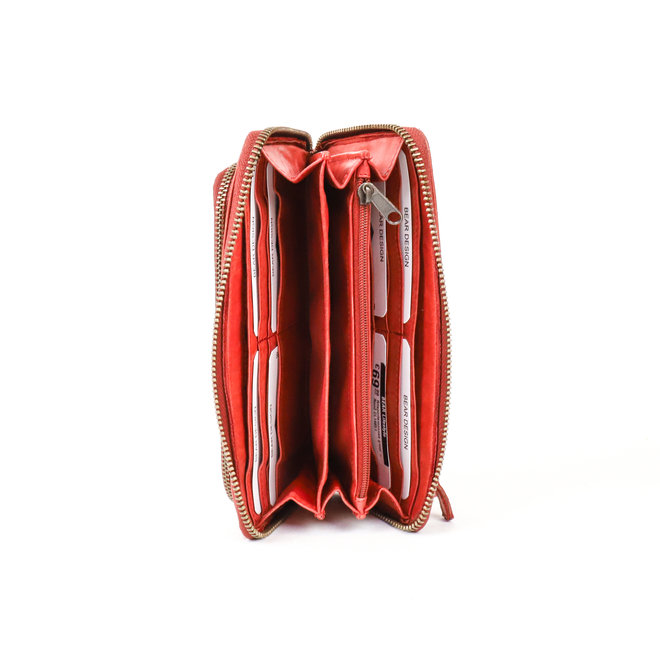 Ritsportemonnee groot 'Isa' - Rood CL14851