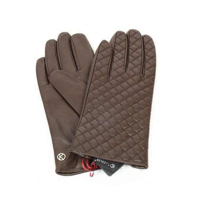 Dames leren handschoen Ella - Donker bruin