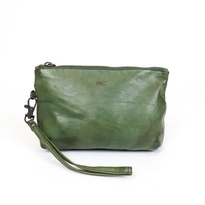 Leder etui - CL 12510 Olijf groen