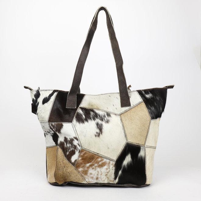 Shopper Cow 'Vakjes' HH5077 Bruin