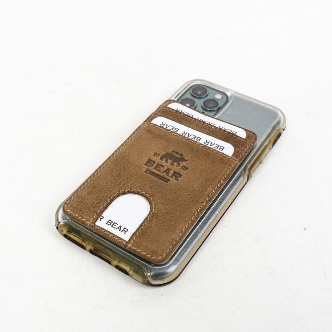 Telefoon portemonnee - plak hoesje Taupe