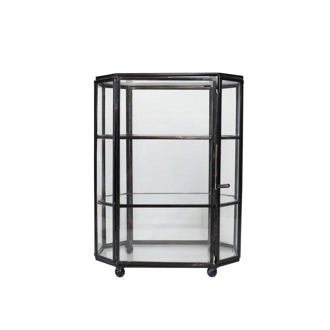 Glazen sieraden box met verdiepingen - Zwart hexagon