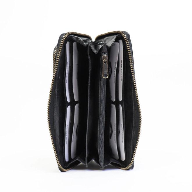 Ritsportemonnee groot 'Isa' - Zwart CL14851