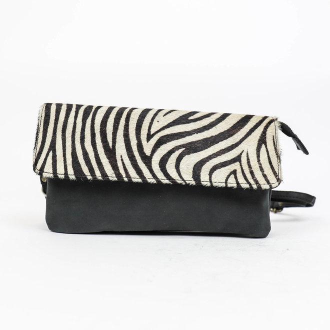 Clutchtasje 'Carmela' Zebra HH 02038 Zwart/grijs
