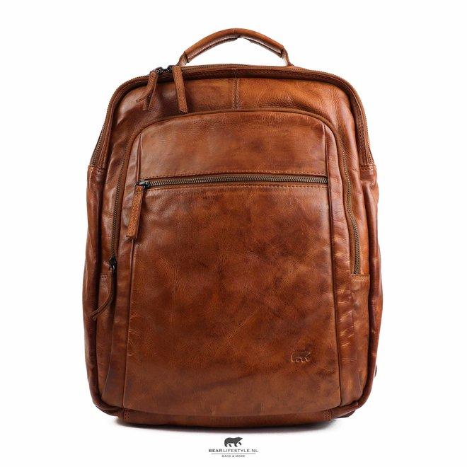 Laptop rugzak 17 inch 'Ties' - Cognac CL 40848
