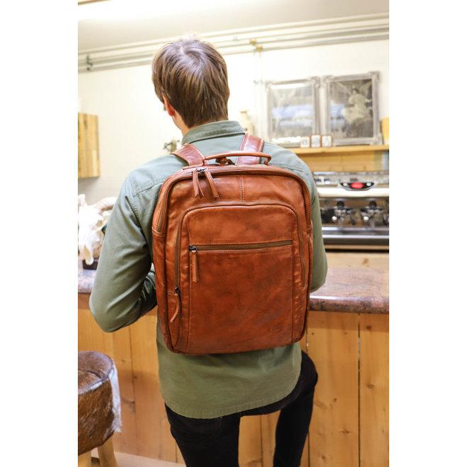 """Laptop Rucksack 17 Inch """"Ties"""" - Cognac CL 40848"""