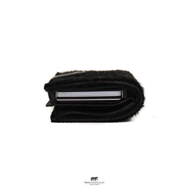 Kleine portemonnee Anti Skim - Cow Black HH 11034