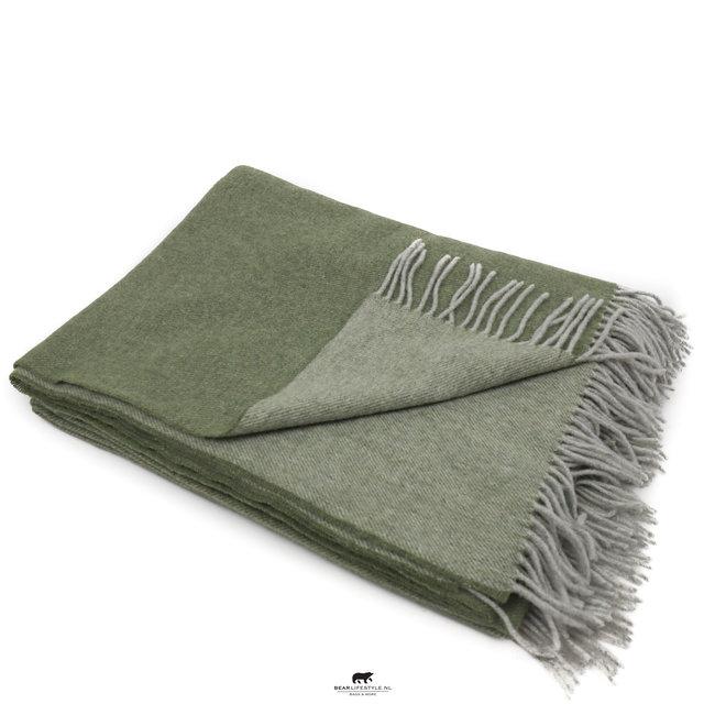 Plaid 100% Lammwolle 137 x 180 cm grün