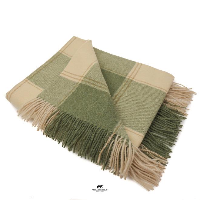 Plaid 100% Lammwolle 137 x 180 cm grün/beige
