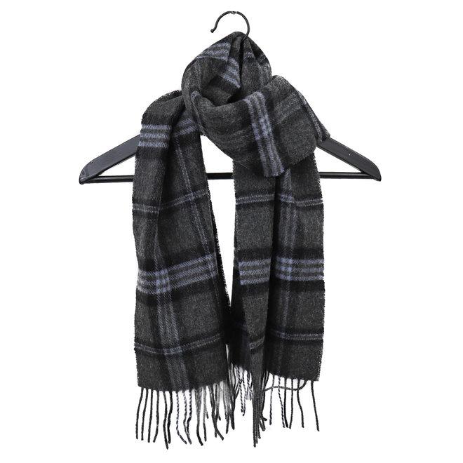 Sjaal lamswol 30 x 150 cm grijs/zwart