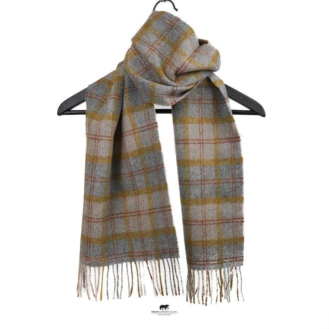 Sjaal lamswol 30 x 150 cm beige/grijs