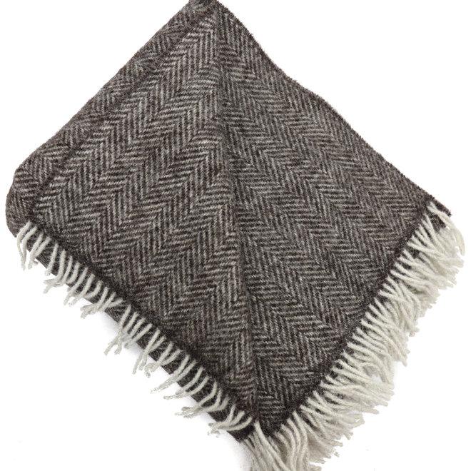 Plaid bruin 100% pure eco wool 132 x 190 CM