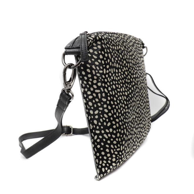 Schultertasche 'Lydia' - White Dot Schwarz HH 110
