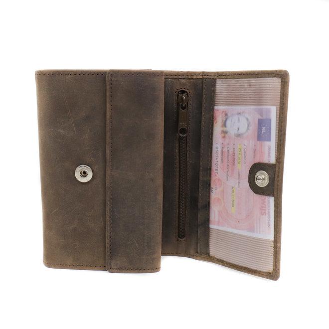 Dames portemonnee overslag HD 9705 Donkerbruin
