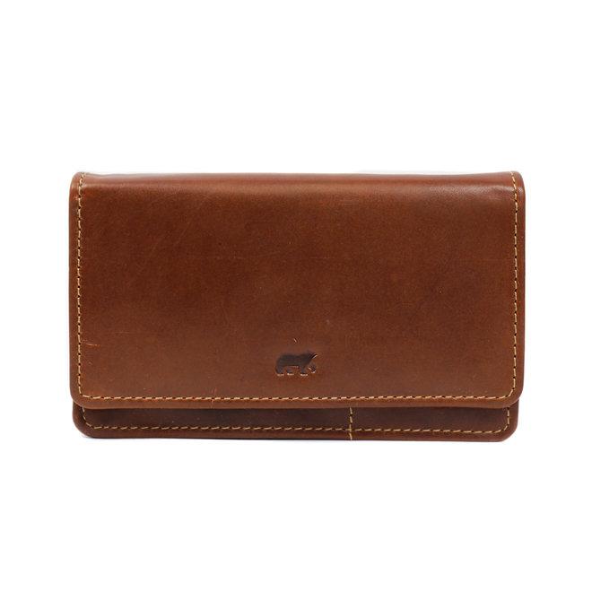 Klassieke overslag portemonnee 'Emma' - RO 782 Cognac
