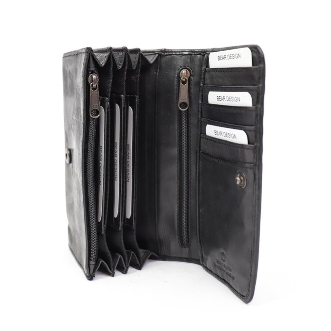 Damesportemonnee overslag  'Noor' - Zwart CL 9918 RFID