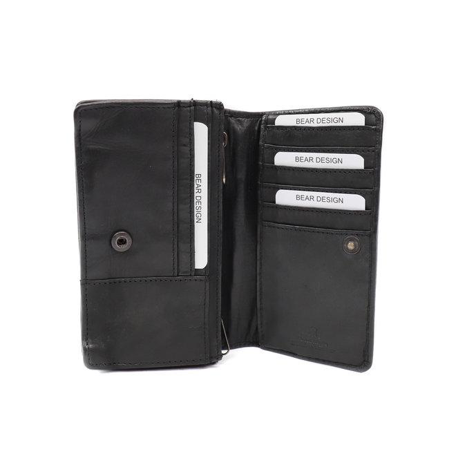 Klassieke overslag portemonnee 'Emma' - CL 782 Zwart RFID
