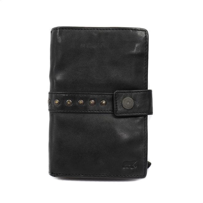 Dames portemonnee 'Sanne' - Zwart studs CL 15087