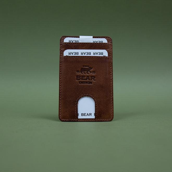 Telefoon portemonnee - plak hoesje Cognac