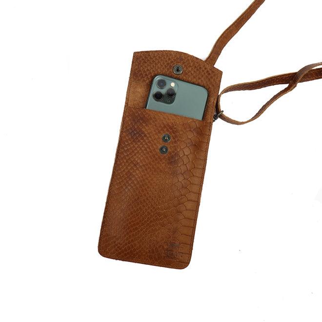Telefontasche 'Priya' CP 2071 Cognac Kroko-Druck