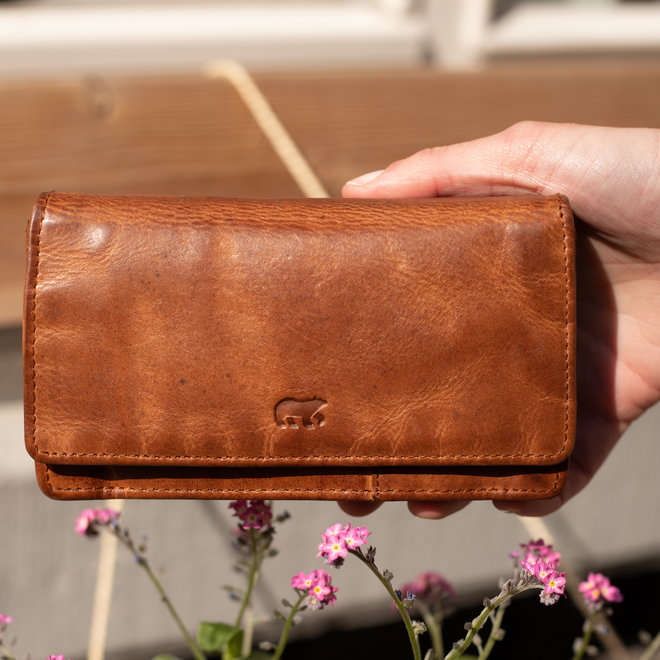 Overslag portemonnee Klassiek CL782 Cognac RFID