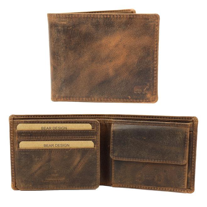 Kleine Vintage Billfold  'Tom' - Bruin VG 8731