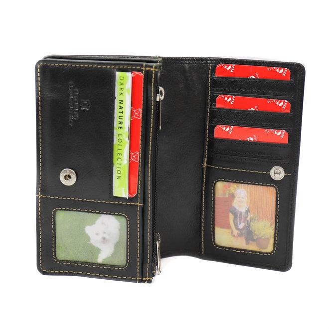 Klassieke overslag portemonnee 'Emma' - RO 782 Zwart