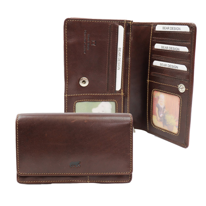 Klassieke overslag portemonnee 'Emma' - RO 782 Bruin