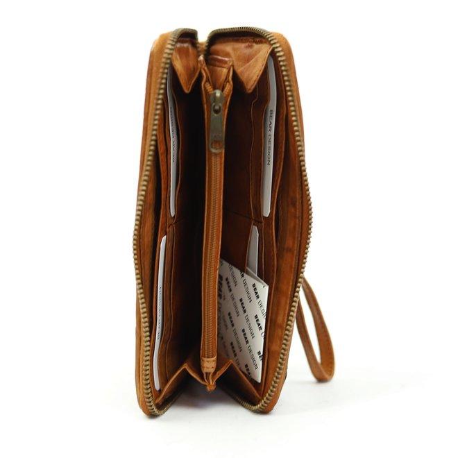 Ritsportemonnee Woven Cognac CL 13994