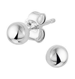 Zilveren oorknoppen - Bol - 4 mm