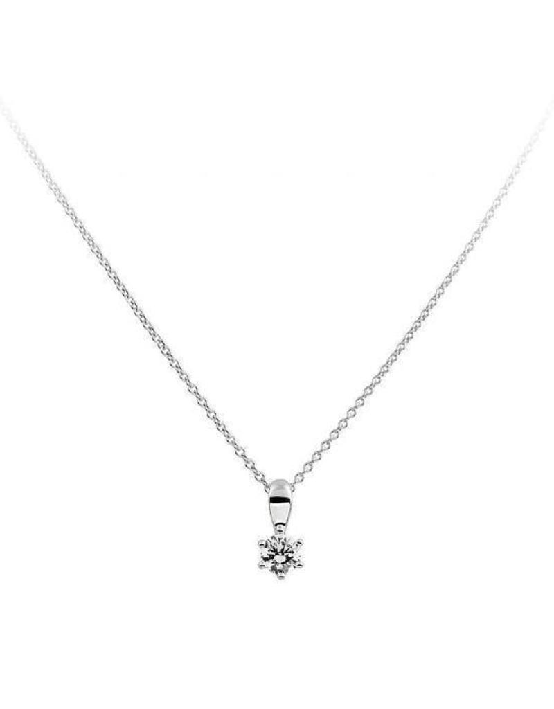 Diamonfire Diamonfire -  Zilveren collier met hanger - Zirkonia - 0.25 ct. - 4 mm - 45 cm