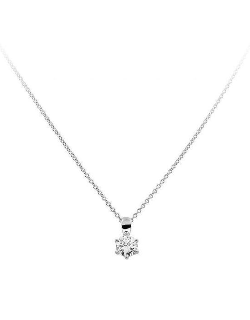 Diamonfire Diamonfire - Zilveren collier met hanger - Zirkonia - 0.75 ct. - 5.7 mm - 45 cm
