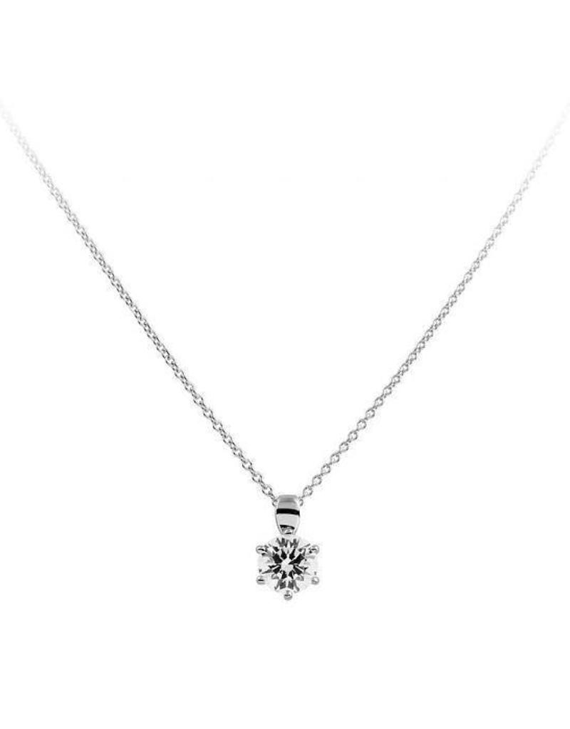 Diamonfire Diamonfire - Zilveren collier met hanger - Zirkonia - 1.50 ct. - 7 mm - 45 cm
