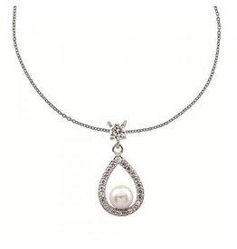 Diamonfire Diamonfire - Zilveren parelhanger - Inclusief collier 45 cm - Zirkonia