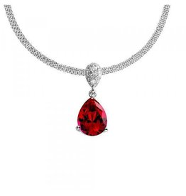 Diamonfire Diamonfire - Zilveren hanger - Inclusief collier 45 cm - Handgeslepen rode diamonfire steen