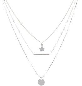van Leeuwen Zilveren collier - Ster, staaf, plaatje