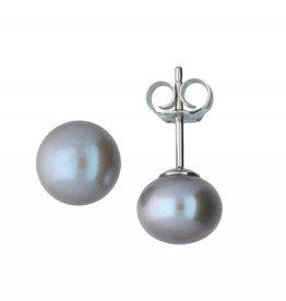van Leeuwen Zilveren oorknoppen - Grijze zoetwaterparel - 8 mm