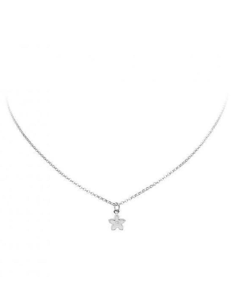 van Leeuwen Zilveren collier met hanger - Bloem - Zirkonia