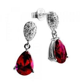 Diamonfire Diamonfire -  Zilveren oorhangers - Zirkonia - Pavé - Rode diamonfire steen