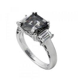 Diamonfire Diamonfire - Zilveren damesring - Fantasie - Grijze steen - Vierkant - Maat 18
