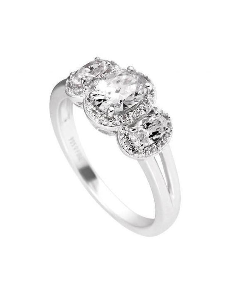 Diamonfire Diamonfire - Zilveren damesring - Fantasie - Bridal - Zirkonia - Ovaal - Vintage - Maat 17.5