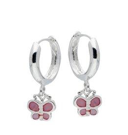van Leeuwen Zilveren klapcreolen - Roze vlinder