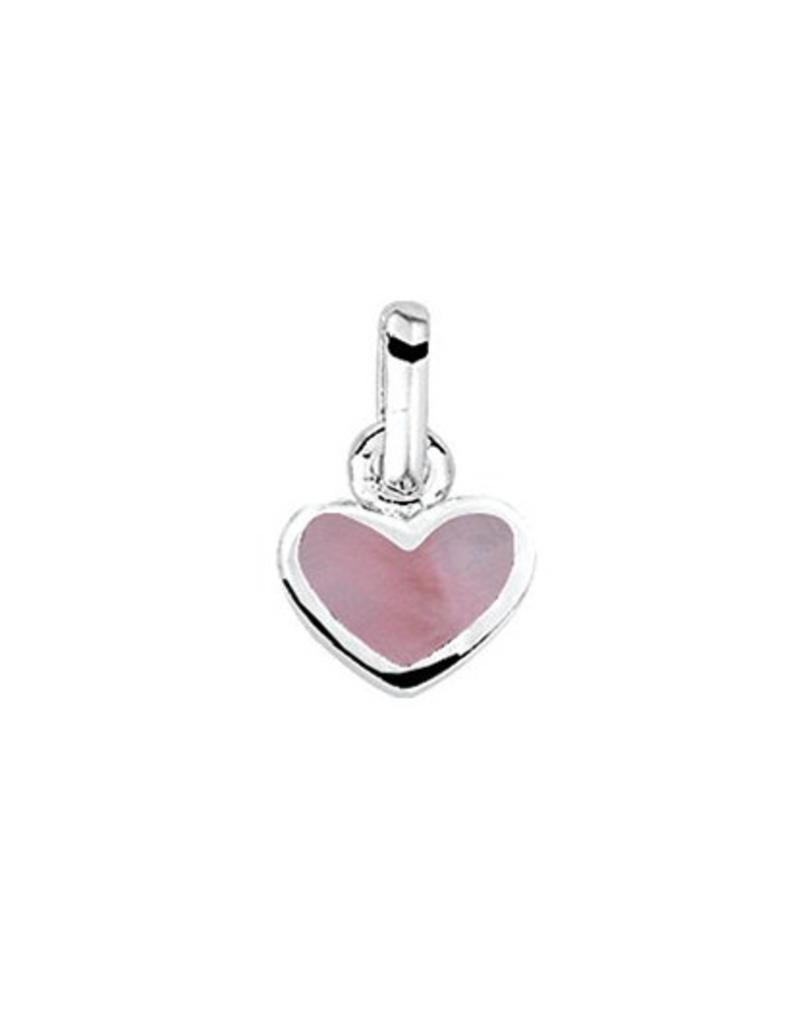 Zilveren hanger - Hartje - Roze epoxy