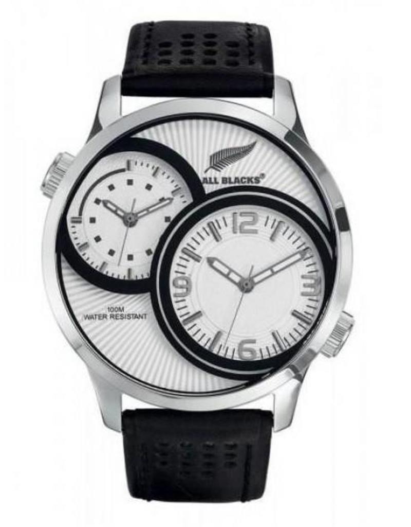 All Blacks All Blacks - Horloge - Staal - Leren band - Dual tijdzone