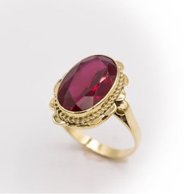 Occasions by Marleen Occasions by Marleen - Gouden ring - Synthetisch Robijn - Maat 18 ¾