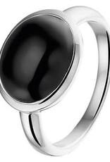 Zilveren damesring - Gerhodineerd - Onyx - Maat 17.25