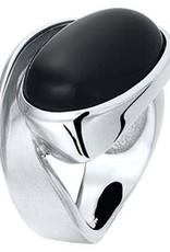 Zilveren damesring - Gerhodineerd - Onyx - Maat 17.75