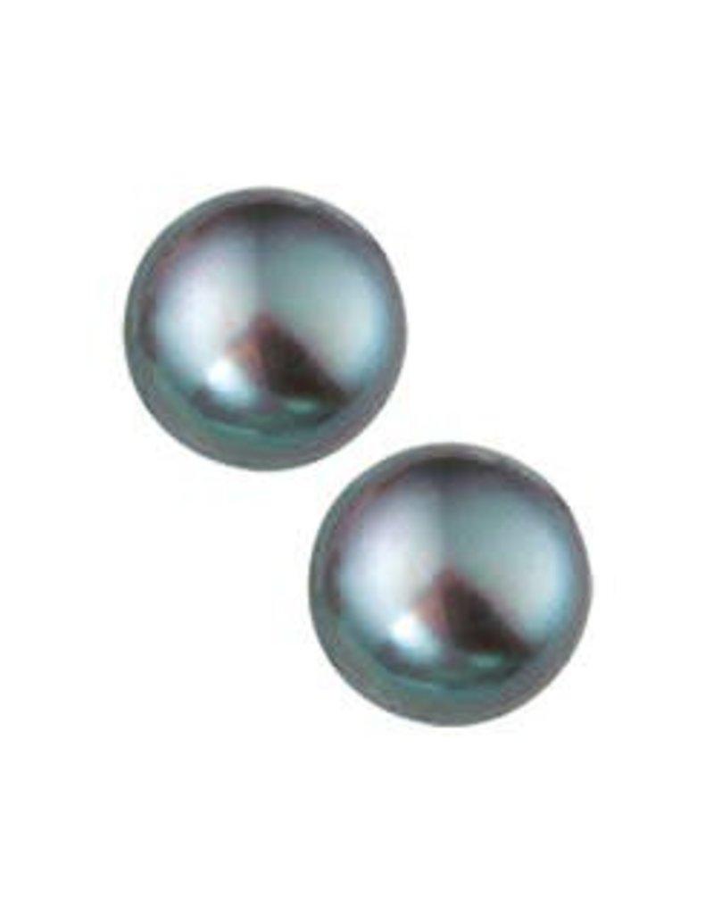 Zilveren oorknoppen - Zoetwaterparels - Gerhodineerd - 7 mm
