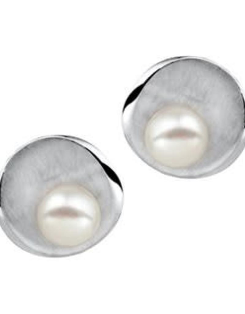 Zilveren oorknoppen - Mat/glanzend - Zoetwaterparel