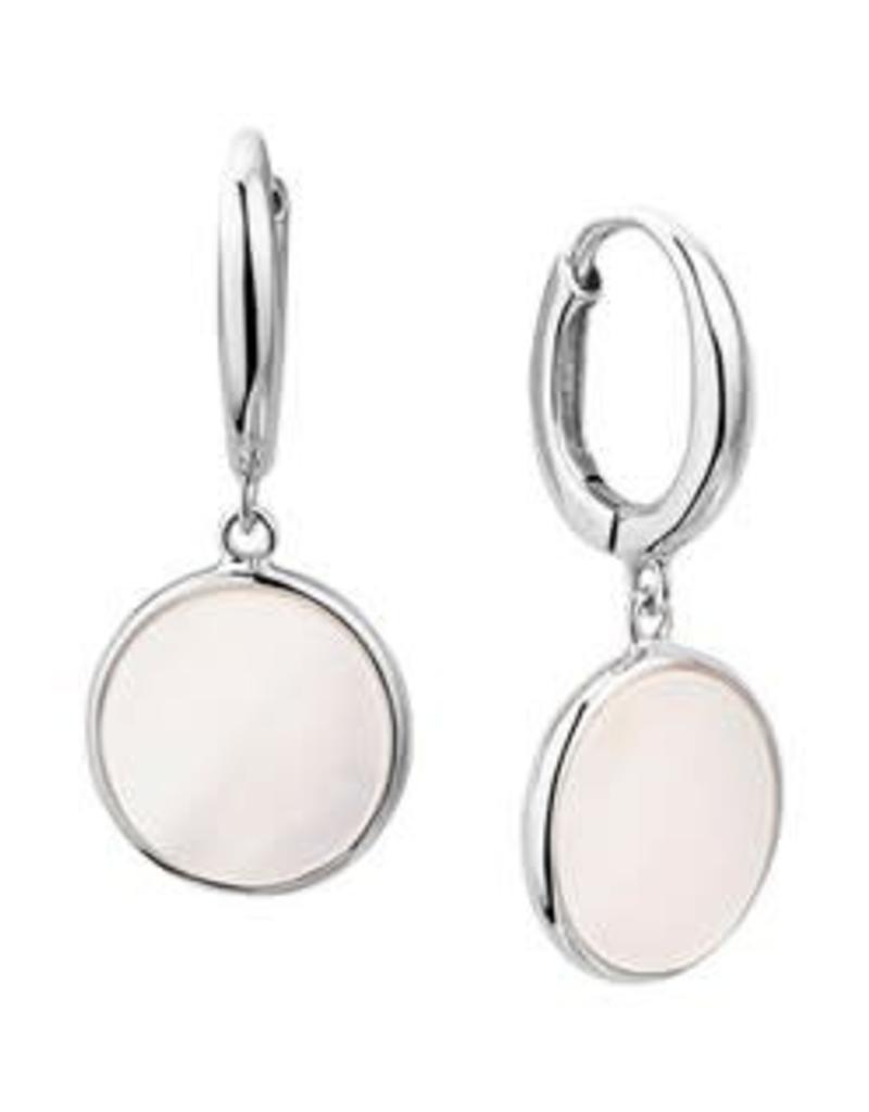 Zilveren oorhangers - Gerhodineerd - Parelmoer